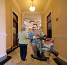 Gov. LePage prefers to transport himself around the state capital via Wal-Mart scooter.